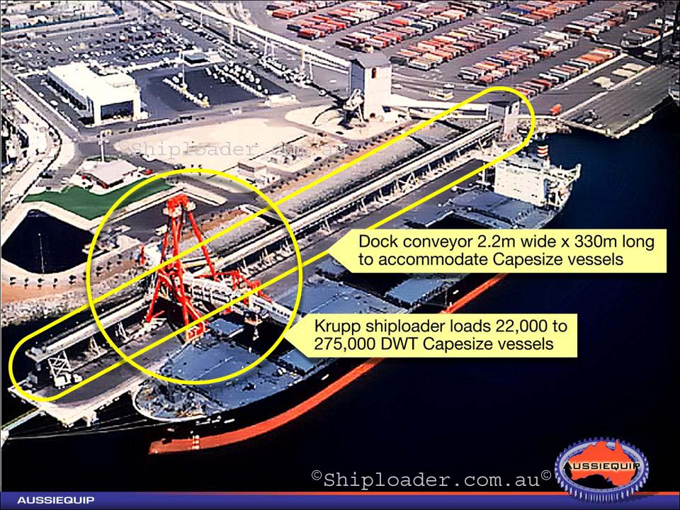 Shiploader Aerial view of shiploader and dock conveyor
