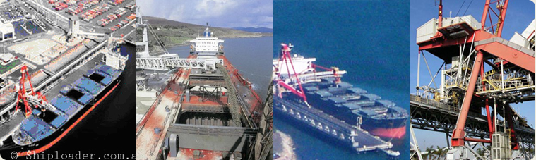 8000 Metric Tonne Per Hour LAXT shiploader (Long Aerial Views loading a ship)  4000 Metric Tonnes Per Hour Shiploader (Aerial view shown loading a ship)